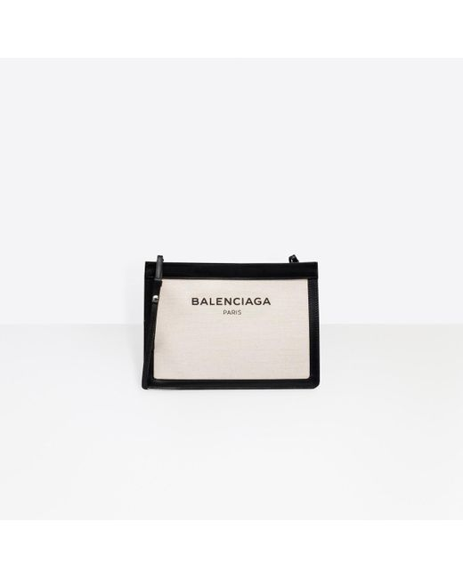 Balenciaga Natural Navy Pochette Canvas And Leather Cross-Body Bag