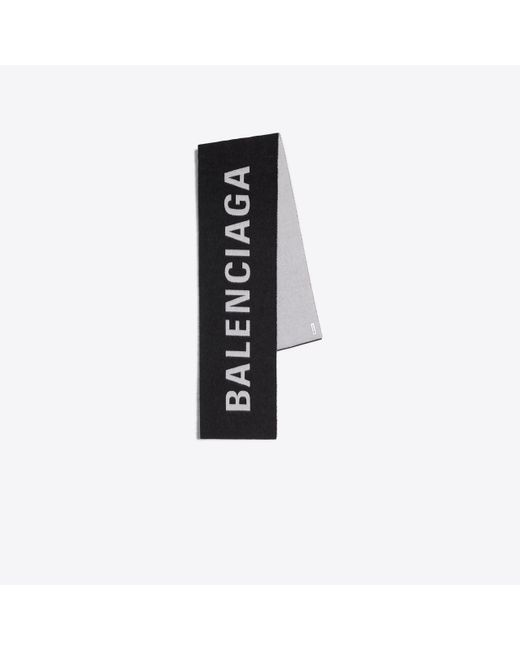 Balenciaga - Black Jacquard Logo Scarf - Lyst