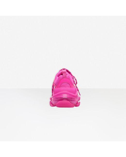 Balenciaga Pink Triple S Clear Sole Sneakers