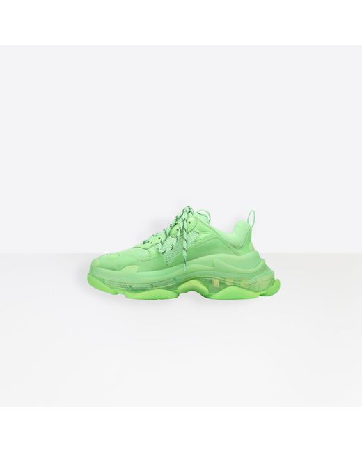 Balenciaga Green Triple S Clear Sole Sneaker