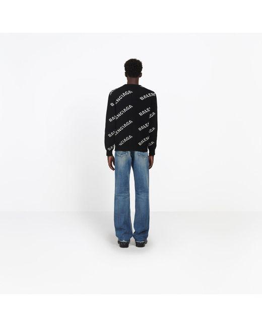 Jersey cuello redondo jacquard logotipo Balenciaga de hombre de color Black
