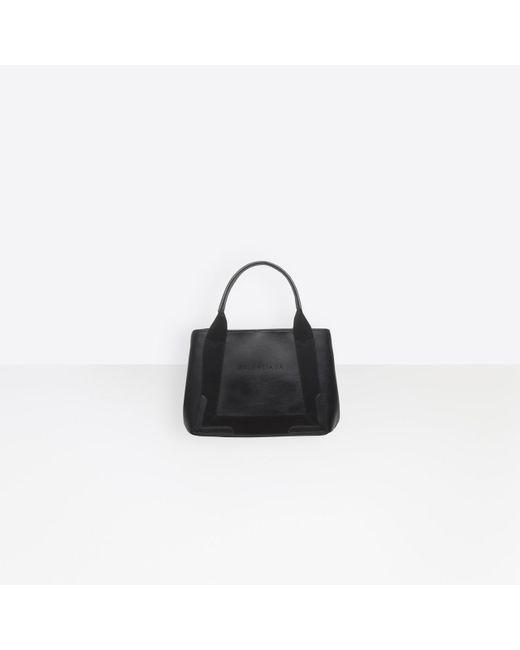 Balenciaga Black Leather Navy Cabas S