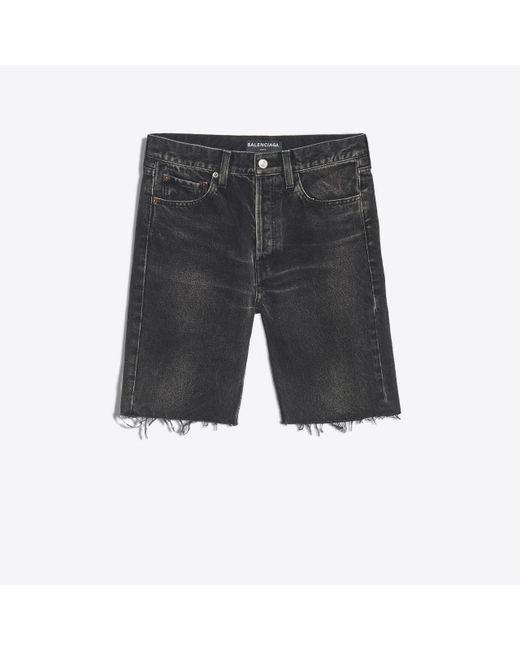 Pantalón corto de denim con acabado sin rematar Balenciaga de hombre de color Black