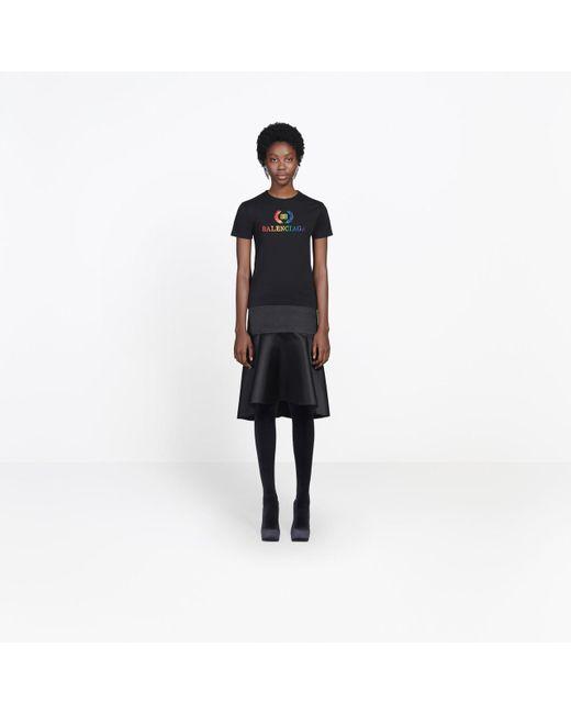 4111da785708 ... Balenciaga - Black Rainbow Logo Slim Cotton Jersey T-shirt - Lyst ...