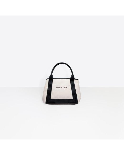 Balenciaga White Cabas S Leather-Trimmed Cotton-Canvas Tote