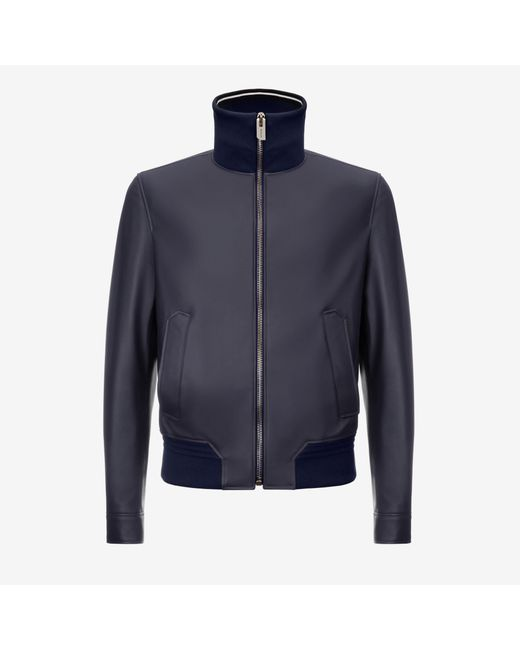 Reversible Leather Bomber Jacket Black, Mens lamb nappa leather bomber jacket in black Bally