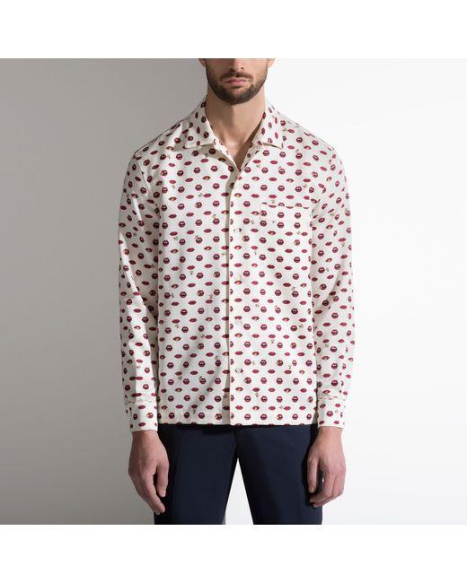 Bally Lip Print Silk Pyjama Style Shirt Men S Printed