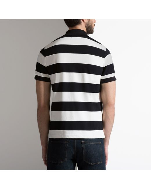 Bally Striped B Patch Polo Shirt In Black Cotton Jersey In