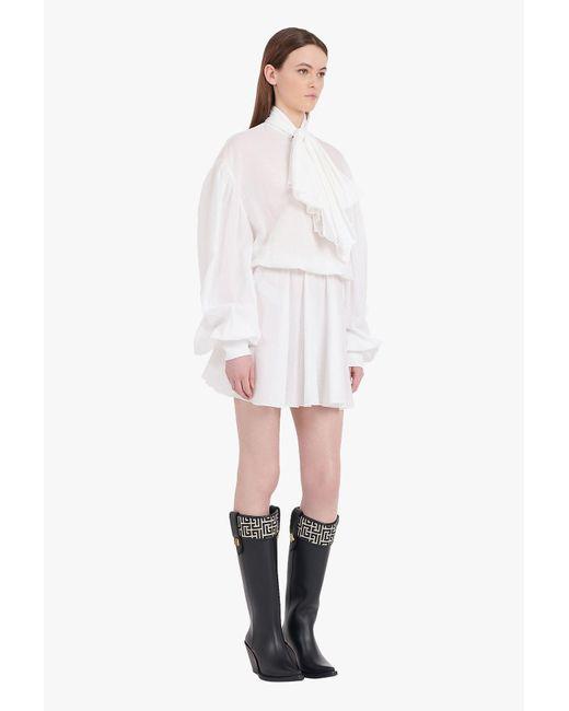 Balmain White Cotton Dress With Ascot Bow