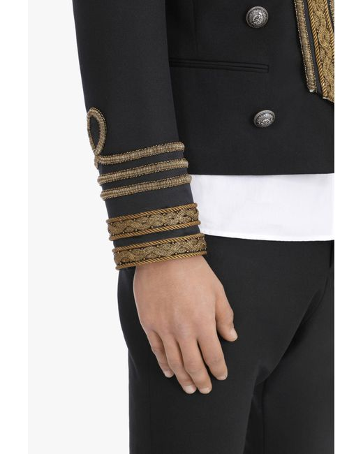 Balmain Embroidered Black Wool Blazer With Double Breasted Silver Tone Button Closure For Men Lyst