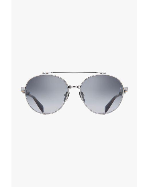 Balmain Metallic Tortoiseshell-effect Titanium Brigade-ii Sunglasses