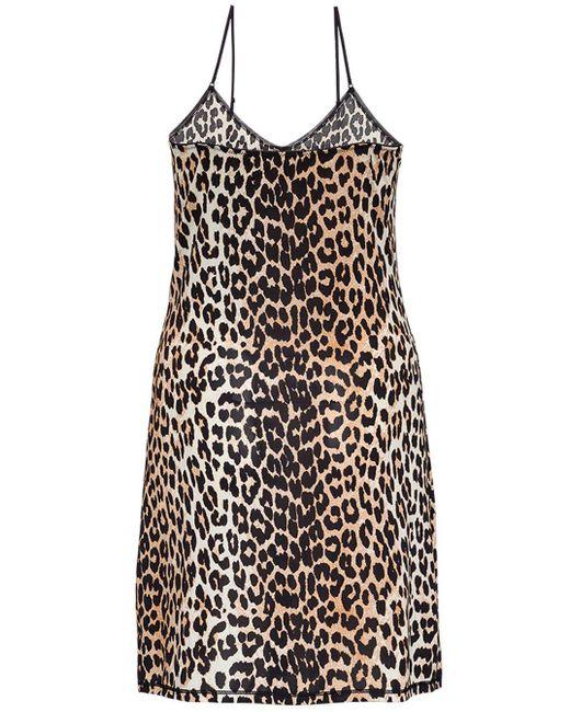 Ganni Brown Animalier Rayon Blend Dress