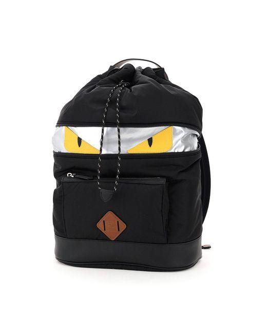 Fendi Black Ff Nylon Bag Bugs Backpack for men