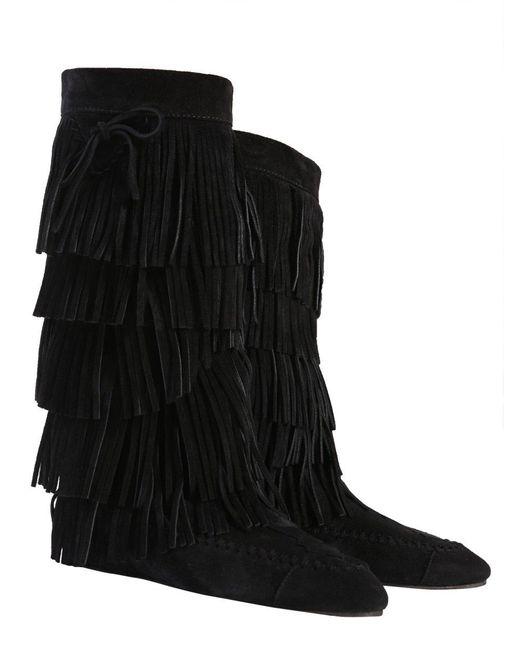 Saint Laurent Black Fringed Boots