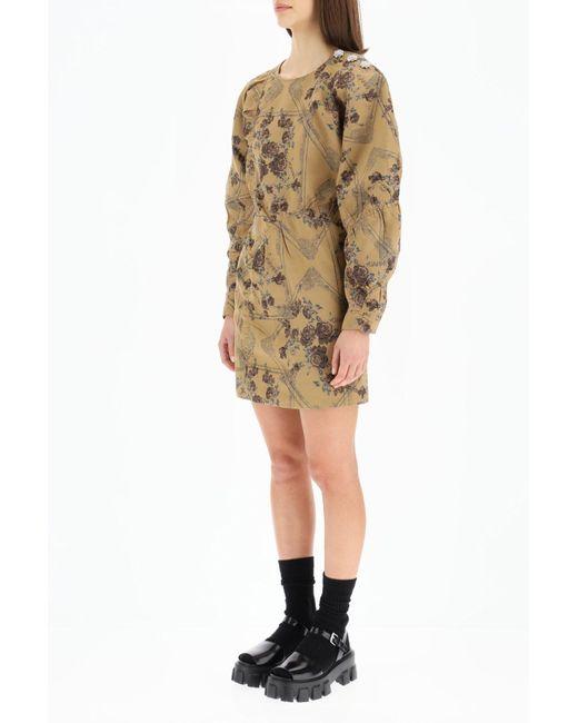 Ganni Natural Mini Dress In Jacquard Brocade