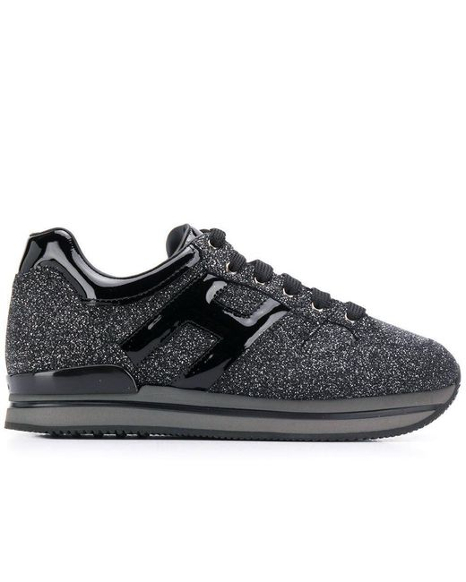 Hogan Leather H222 Glitter Logo Sneakers in Black - Save 31% - Lyst