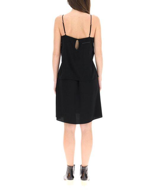 MM6 by Maison Martin Margiela Black Dress With Adjustable Shoulder Straps
