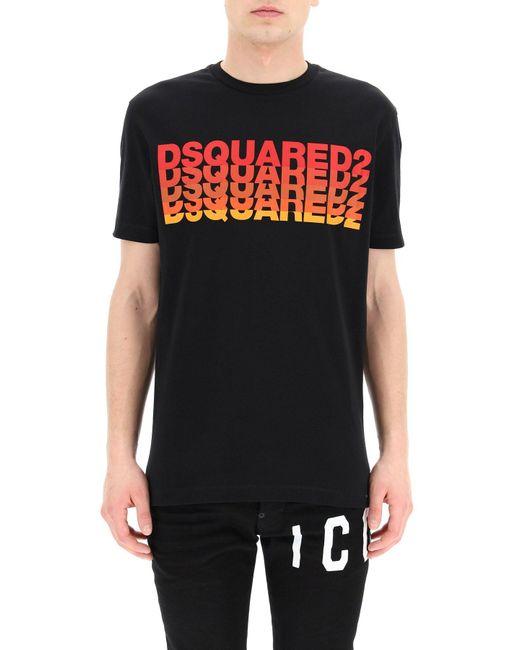 DSquared² Black Shaded Multilogo Print T-shirt for men
