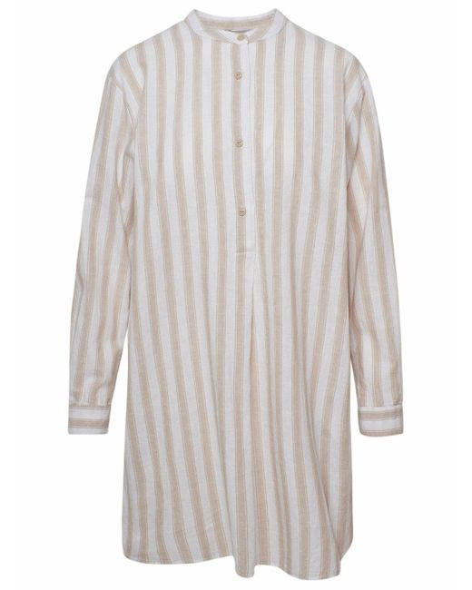 Woolrich Multicolor Beige Striped Organic Shirt
