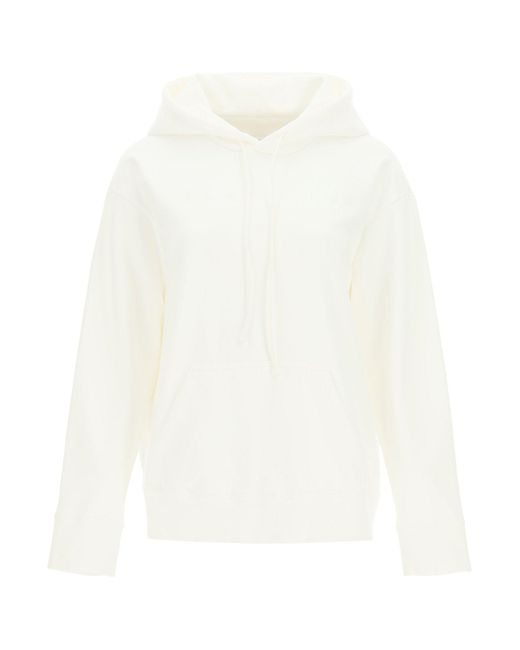 MM6 by Maison Martin Margiela White Logo Embroidery Hoodie