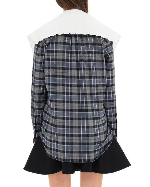 Patou Multicolor Tartan Shirt With Embroidered Poplin Collar