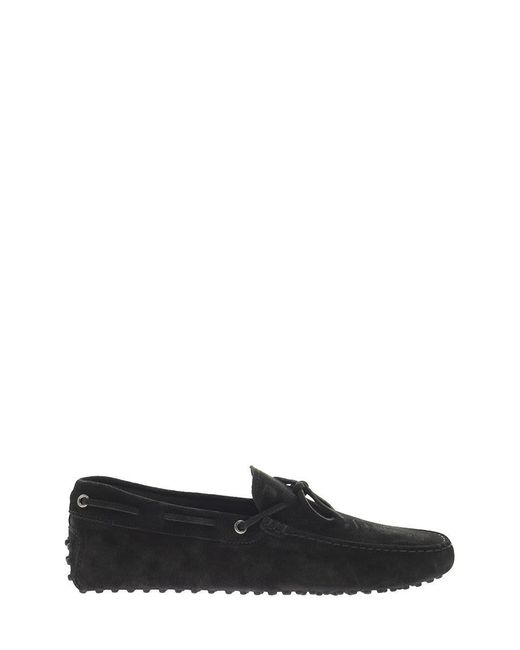 Tod's Black Suede Moccasin With Grommets for men