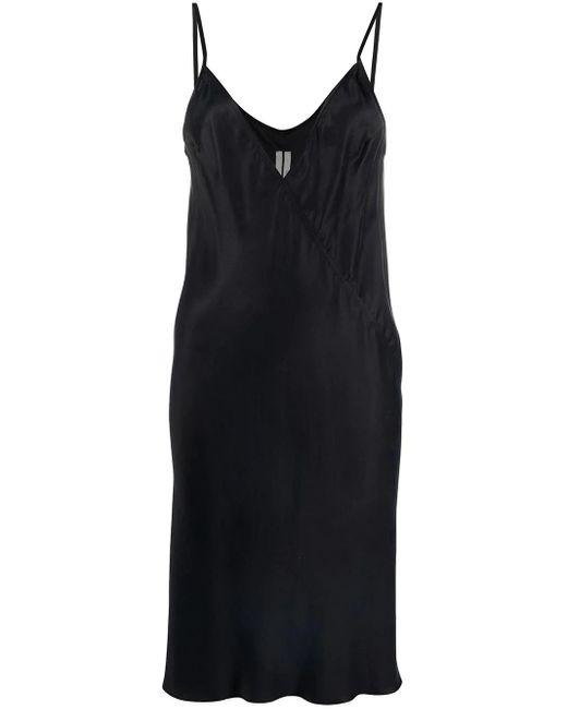 Rick Owens Black Neck Satin Slip Dress