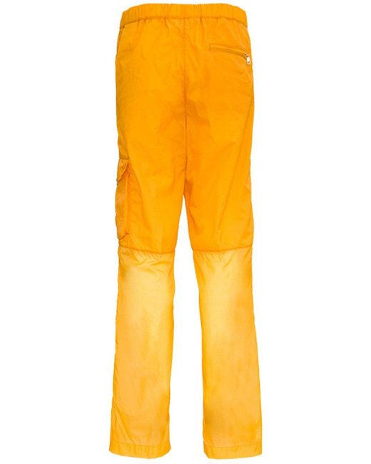 Moncler Yellow Cargo Trousers In Ripstop Nylon By 1952 for men