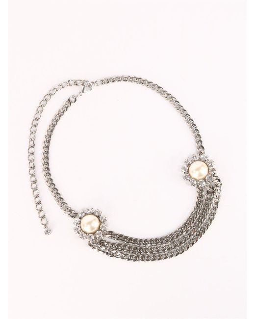 Alessandra Rich Metallic Crystal Chain Belt With Pearl And Crystal Elements