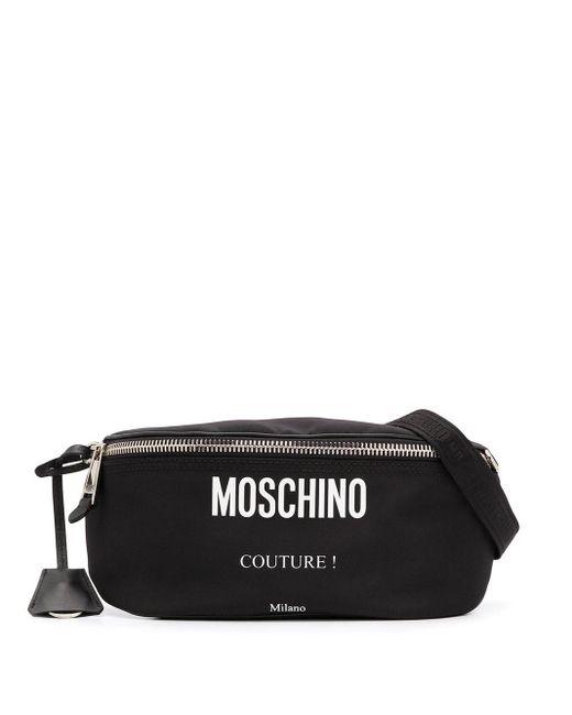 Moschino Black Logo Print Belt Bag for men