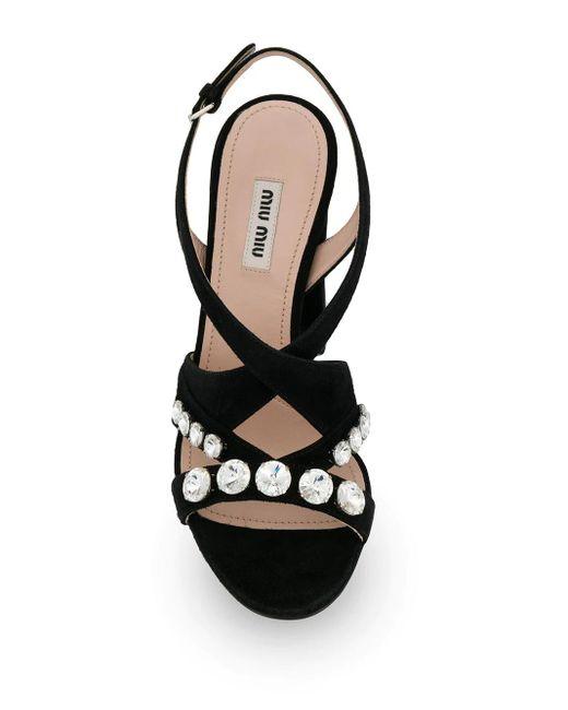 Miu Miu Black Crystal Embellished Sandals