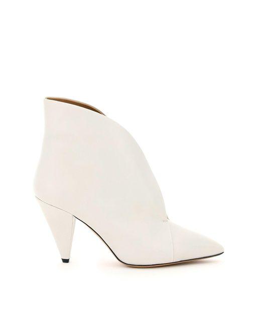 Isabel Marant White Arfee Leather Boots