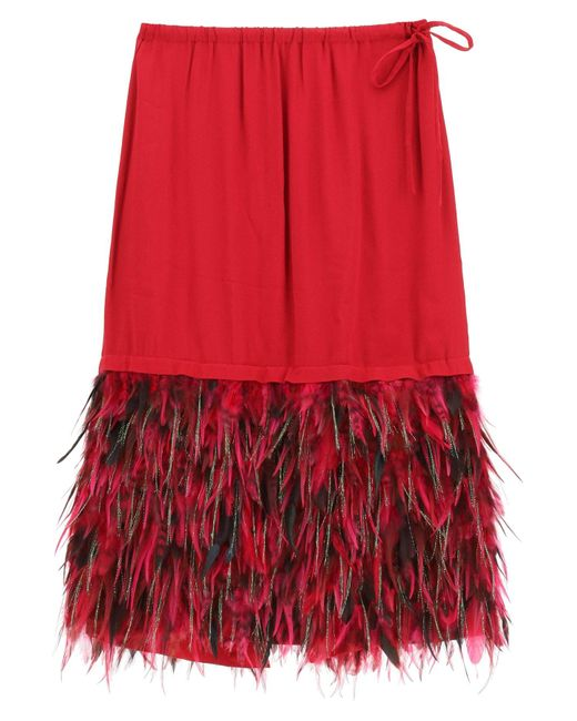 Dries Van Noten Red Midi Skirt With Feathers