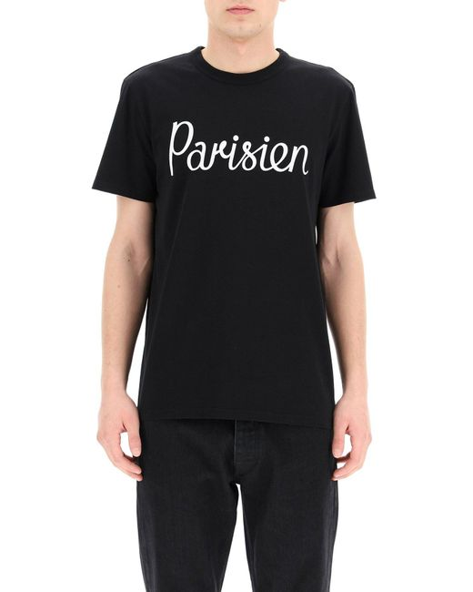 Maison Kitsuné Black Parisien Print T-shirt for men