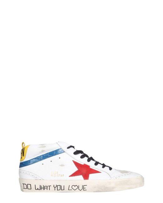 Golden Goose Deluxe Brand White Mid Star Sneakers for men