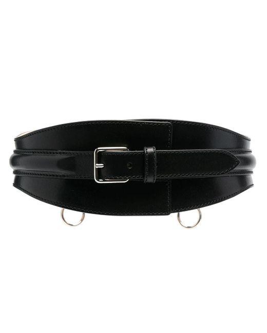 Alexander McQueen Black Wide Leather Belt