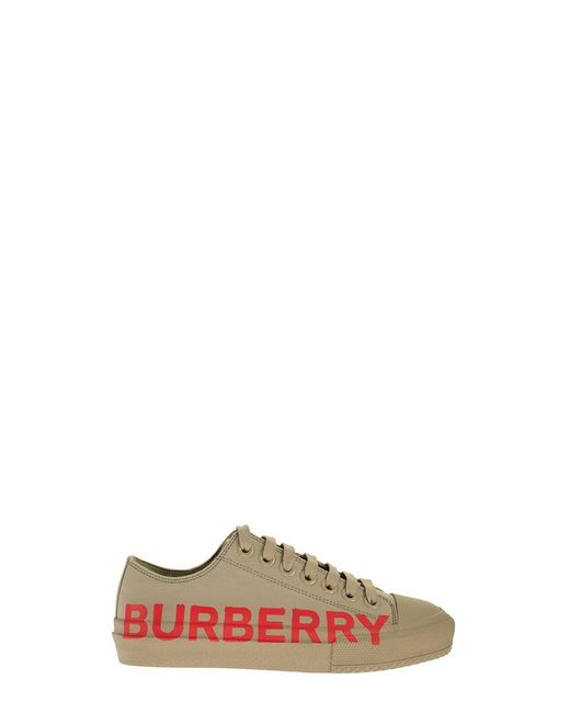 Burberry Multicolor Logo Print Cotton Gabardine Sneakers