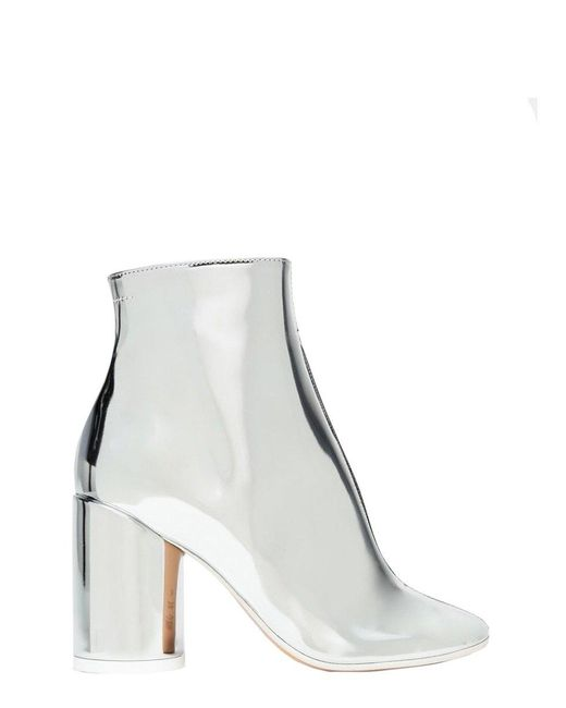 """MM6 by Maison Martin Margiela Metallic Mirrored Boots With """"6"""" Heel"""