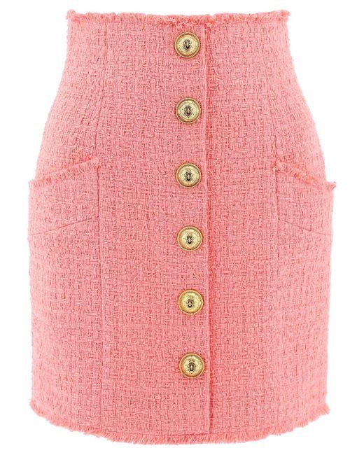 Balmain Pink High-waist Tweed Skirt