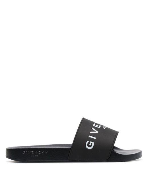 Givenchy Black Logo Embossed Sliders
