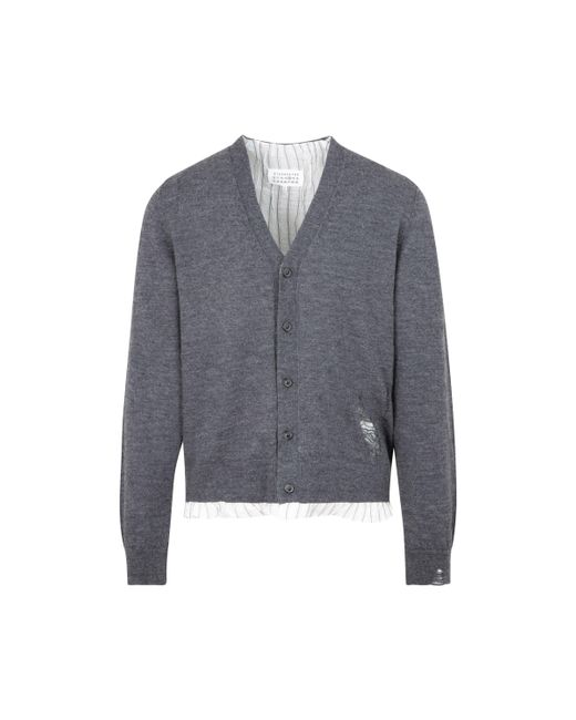 Maison Margiela Gray Layered Button-up Cardigan for men