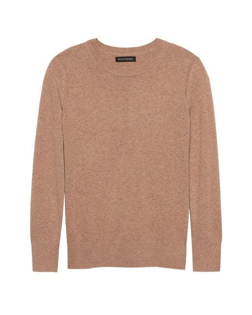 Banana Republic - Brown Italian Merino-blend Crew-neck Sweater - Lyst