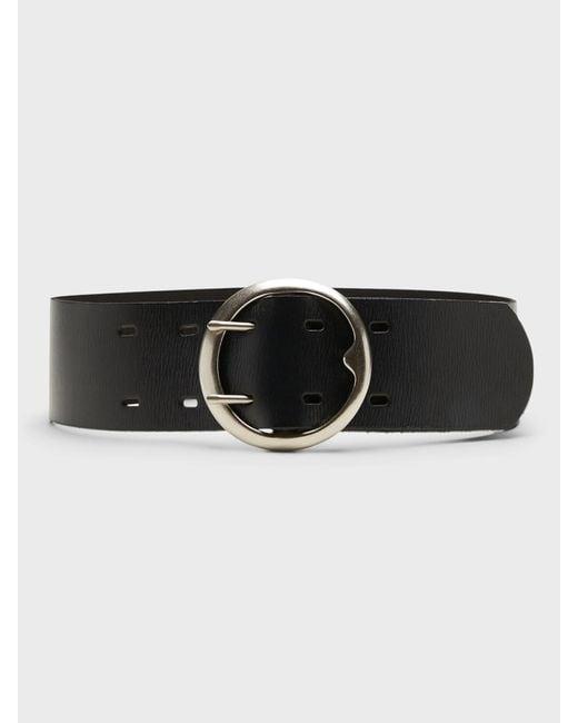 Banana Republic Black Circle Buckle Leather Belt