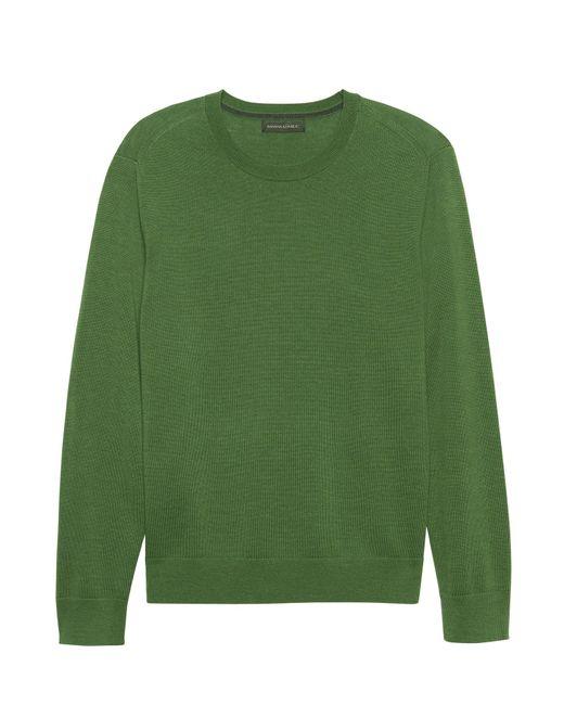 Banana Republic - Green Italian Merino Wool Crew-neck Sweater - Lyst