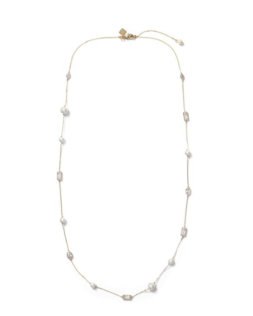 Banana Republic - Metallic Bezel Stone And Pearl Necklace - Lyst