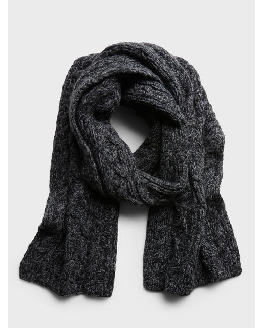 Banana Republic Gray Italian Wool-blend Cable-knit Scarf