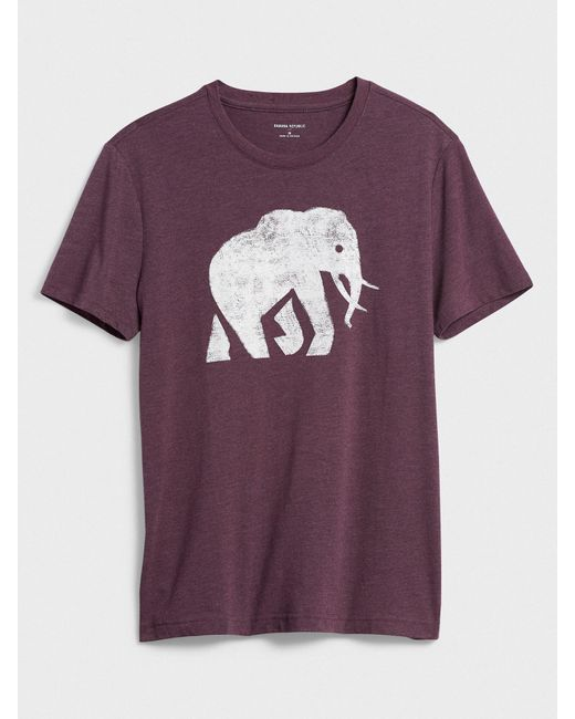 Banana Republic Factory Purple Elephant Logo Graphic T-shirt for men