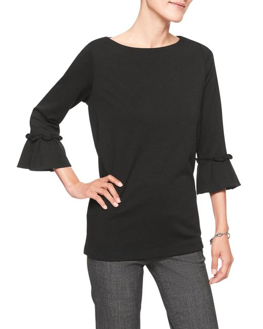 Banana Republic Factory - Black Ponte Ruffle Pleat Sleeve Top - Lyst
