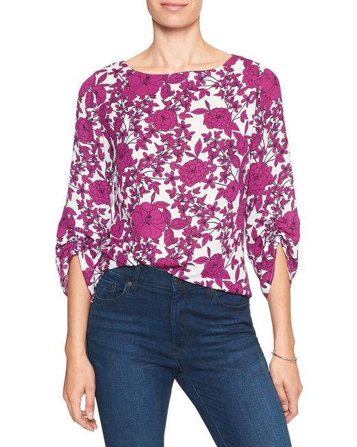 Banana Republic Factory - Purple Print 3/4 Ruched-sleeve Blouse - Lyst