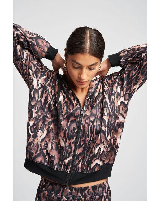 Pam & Gela Multicolor Ocelot Oversized Zip Hoodie